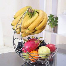 <span class=keywords><strong>Chroom</strong></span> Metalen Draad fruit display Hanger <span class=keywords><strong>fruitmand</strong></span> met banaan houder