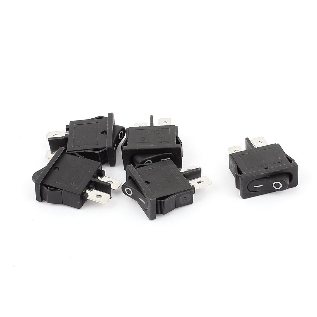 uxcell AC 250V 6A AC 125V 10A SPST 2 Terminals Power Boat Rocker Switch 5PCS
