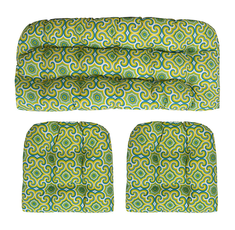 "RSH Décor Indoor Outdoor Wicker Tufted 3 Piece Set 1 - Loveseat Settee & 2 - U - Shape Chair Cushions - Fresco Limelight (41"" W x 19"" D & 19""W x 19""D)"