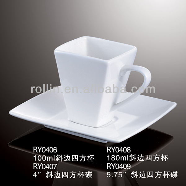 110ml Square Coffee Cup Mug With Saucer And Customized Logo