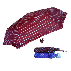 Easy open and close pongee foldable dark red polka dot lace umbrellas