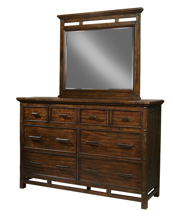 Intercon Wolf Creek Vintage Acacia 6 Drawer Dresser w/ Landscape Mirror