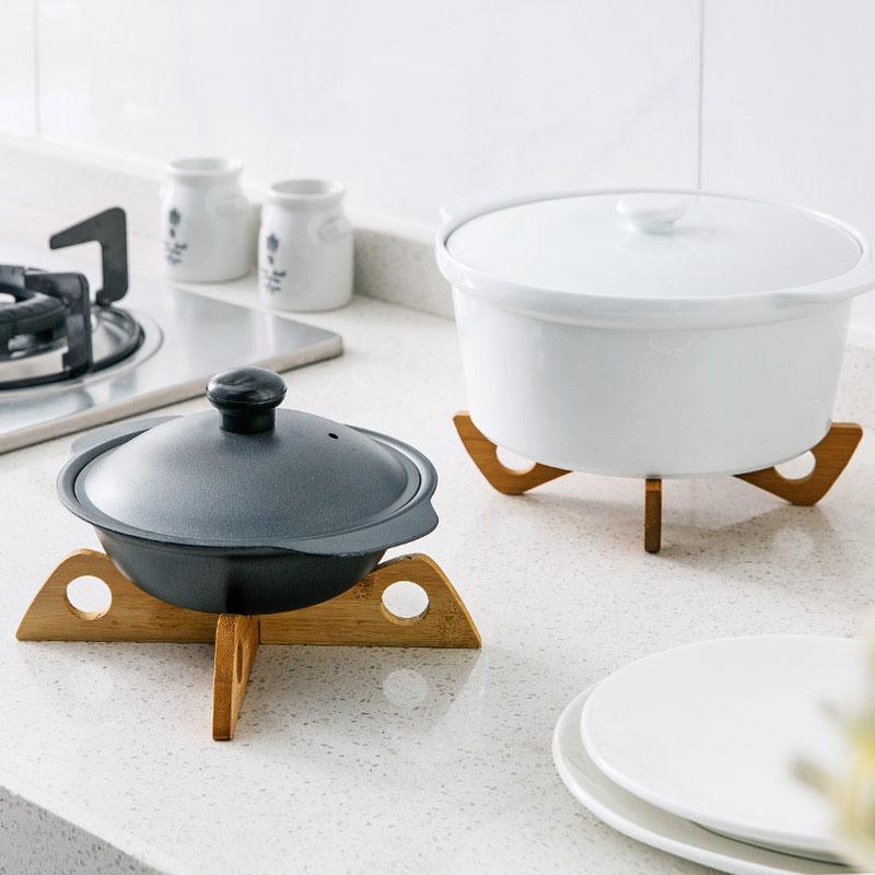 Multi-function Bamboo Table Mat Heat Resistant Dining Table Mat , Cheap Adiabatic Wooden Pot Holder Bamboo Dining Table Mat