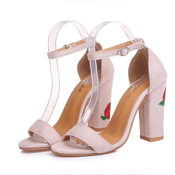 af7fd32f83f72 2018 Ladies Summer Open Toe Embroidery Floral High Heel Ankle Strap Sandals  Women Cheap Wholesale Shoes