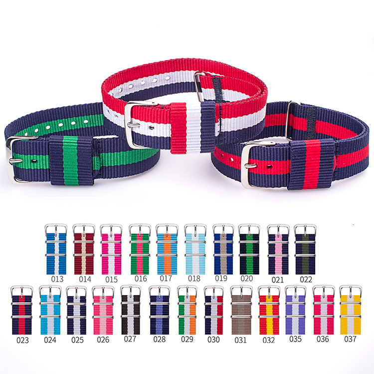 Custom 18mm 20mm 22mm Nato Nylon Stripe Watch Strap Band