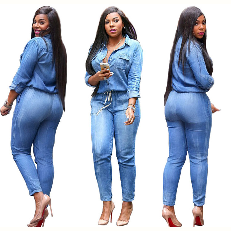 e97dec7db94 casual Long Sleeve Denim Jumpsuit Clubwear sexy jeans rompers Playsuit for  women