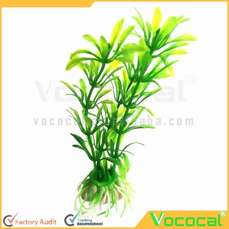 10 PCS Mixed Style Artificial Water Plastic Flower Grass Plant Underwater Simulation Aquarium Plant with Ceramic Base for Fish T