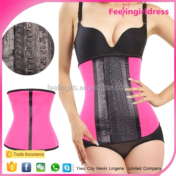 Hot selling pink women exercise thermo slim body shaper rubber waist corset girdle