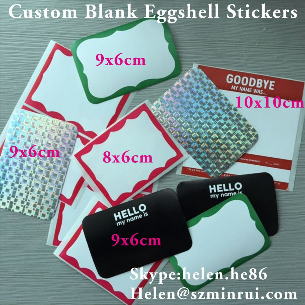 Professional vinyl eggshell sticker material manufacturer custom blank eggshell stickers with different design and size