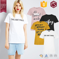 HongXiong OEM Summer Style Round Neck Short Sleeve 180 GSM Cotton Free Design Printing White Women T Shirt