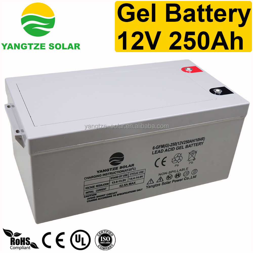 Long life deep cycle 12v 250ah guangzhou pv battery