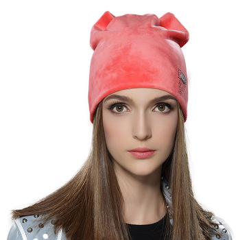 Winter Acrylic Knit Stretchy Velour Beanie Hat for Women with Fashion  Diamante Decoration 836799f12ac