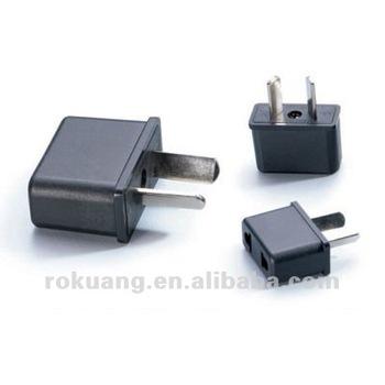 European American Australian New Zealand Outlet Plug Adapter 2 Round Flat Scket