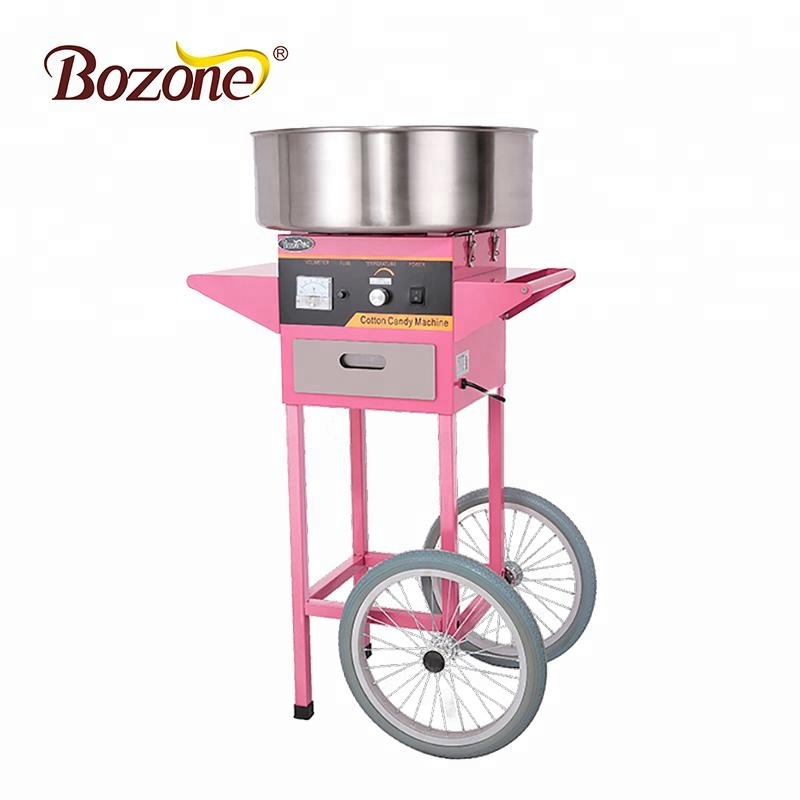 EC-07 Widely Used Candy Floss Machine Cheap Automatic Pink Cart Stand Commercial Floss Sugar Cotton Candy Machine Price