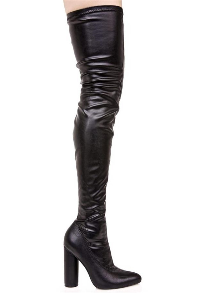 9079b6061e9 Large Size Cheap Over Knee Boots Women Stretch Sexy leather thigh high boots