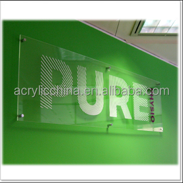 acrylic material wall mount office sign ,acrylic silk screen sign board