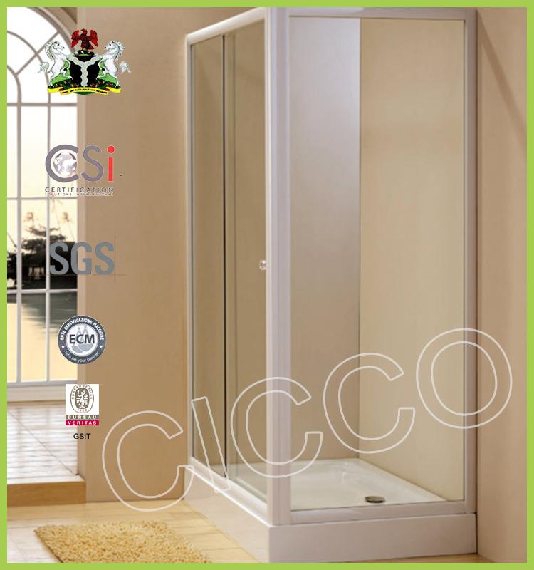simple marco de aluminio y puerta de vidrio templado de moda precio c