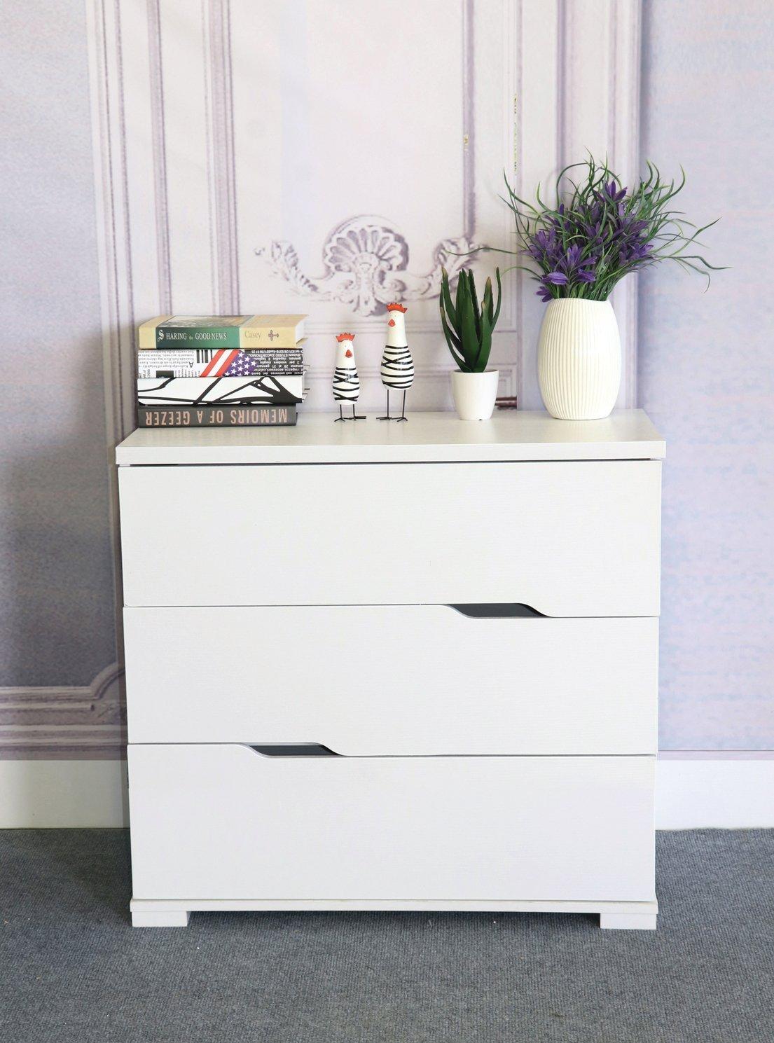 K16013-3 Eltra K Series Smart Home Diagonal Open Handles 3 Drawers Chest Dresser (3 Drawers, White)