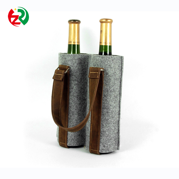 Alibaba Express Hot Sell Christmas Gift NOportable leather handle felt wine bag