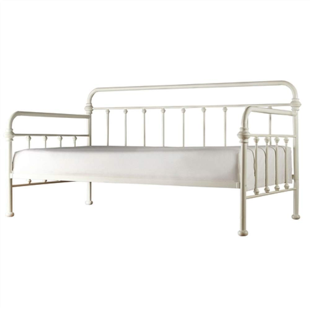 MyEasyShopping Twin size Contemporary Classic Style White Metal Daybed Bed Frame Antique Headboard French