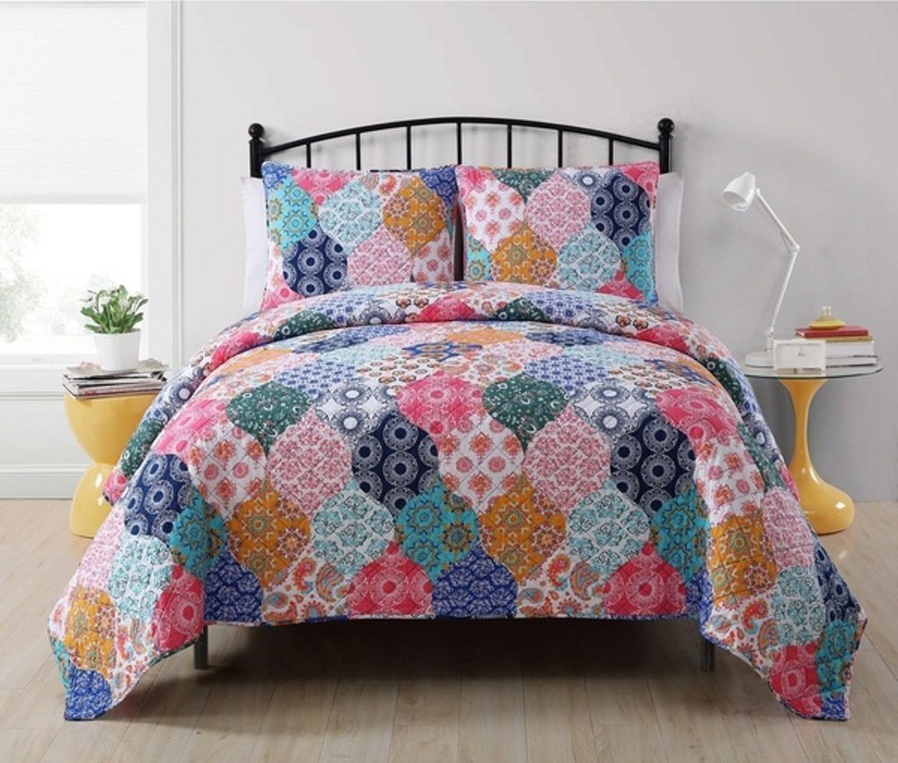 3pc Girls Ogee Patchwork Quilt King Set, Cute Patch Work Lattice Bedding, Salmon Rose Pink Aqua Navy Blue Orange White, Pretty Paisley Medallion Mandala Motif Damask Themed