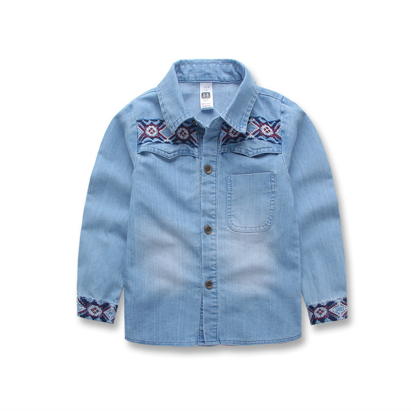 Kids Denim Shirt Retro flowers Children Long Sleeved Shirt For Boys Blue  School Blouse Korean Boys Fashion Shirt Spring Clothes