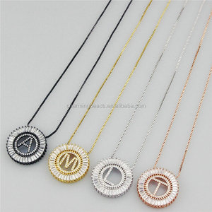 CH-JBN0389 hot micro pave CZ letter charm pendant necklace,fashion initial jewelry chain necklace,wholesale CZ charm necklace