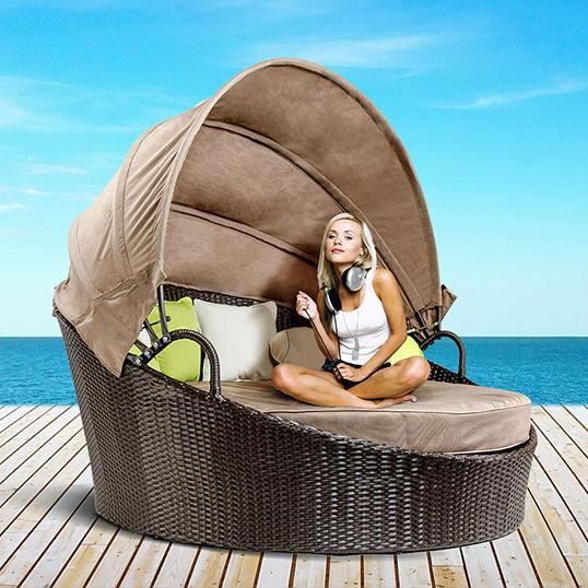 wicker outdoor tagesliege sonnen lounge liege lounge mit baldachin - Runde Tagesliege Mit Baldachin