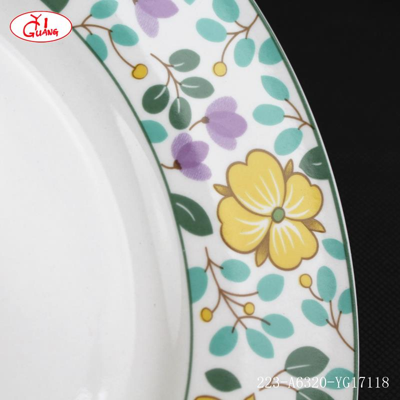 Luxury red glass dinnerware sets with rose and daisy flower decor YG17119