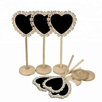 Hollowed Out Wooden Small Tabletop Chalkboard Mini Heart Wedding Place Cards