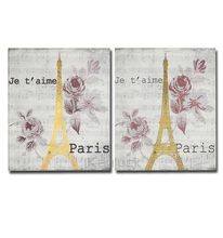 Eiffel Tower Canvas Painting with Foil, Glitter, Puffy, High Glossy Effect