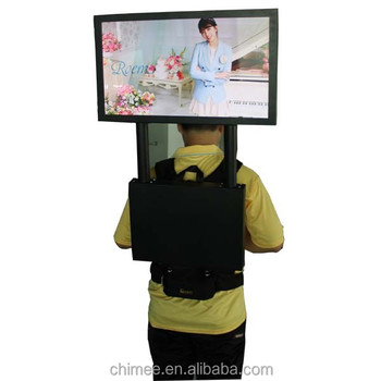 Moving rechargeable battery high brightness backpack lcd advertising player
