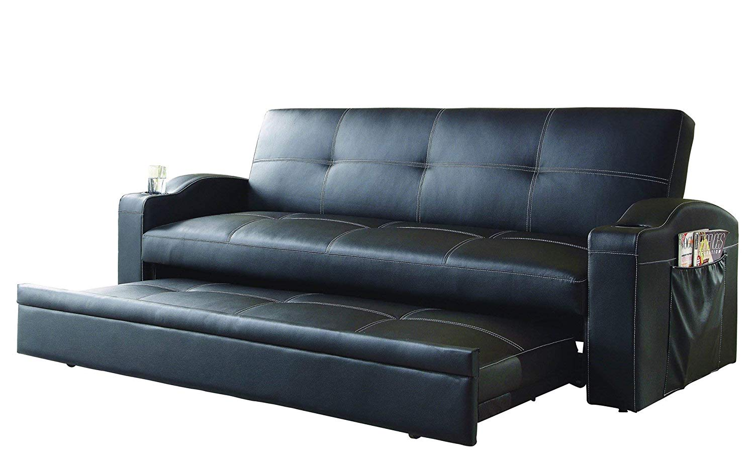 Get Quotations Pop Up Trundle Convertible Sofa In Black Leatherette
