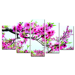 spring flower Canvas Printing Art/Customized Digital Photography Printing/Dropship Cheap 5 panel Canvas Painting