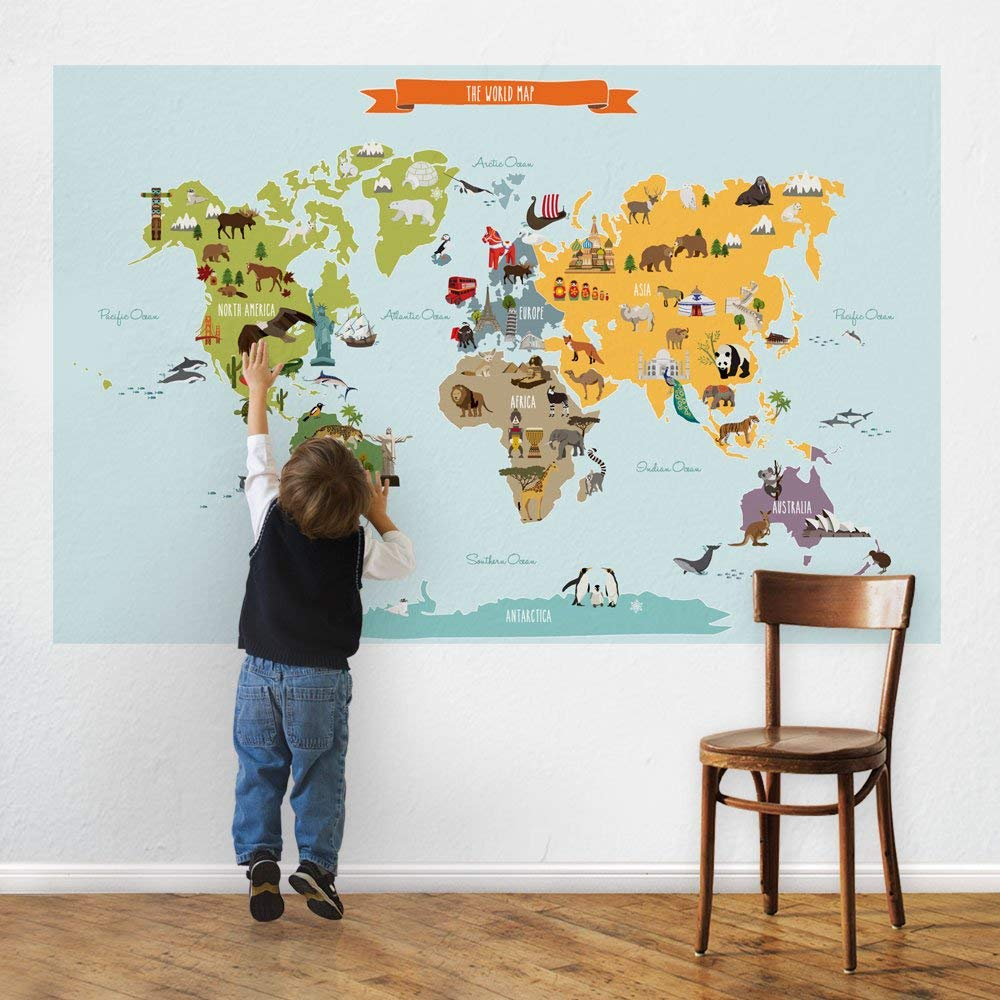"Childrens World Map Poster Wall Sticker Illustrated World Map (Large - 70"" w x 45.5"" h) - by Simple Shapes"