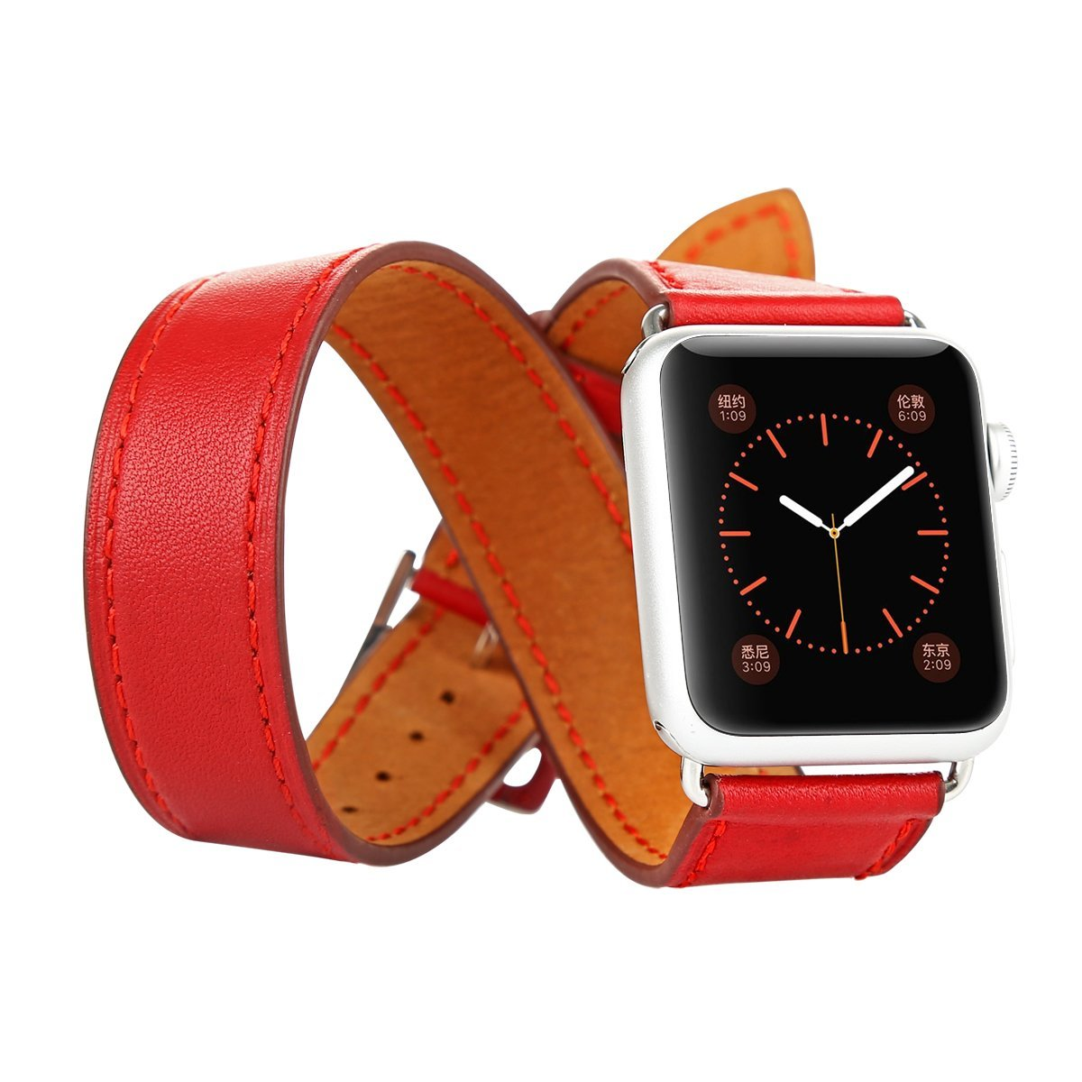 Apple Watch Leather Band,Baseus Sunlord Series Double Cuff Genuine Leather Watchband Replacement iWatch Wristband Link Bracelet with Stainless Steel Buckle for Apple Watch(38mm Red)