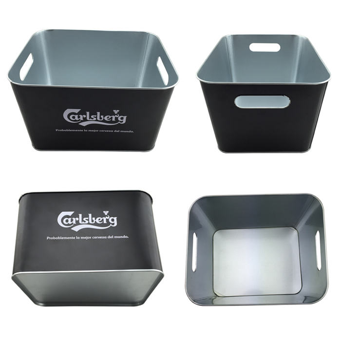 custom square tin beer ice buckets for parties