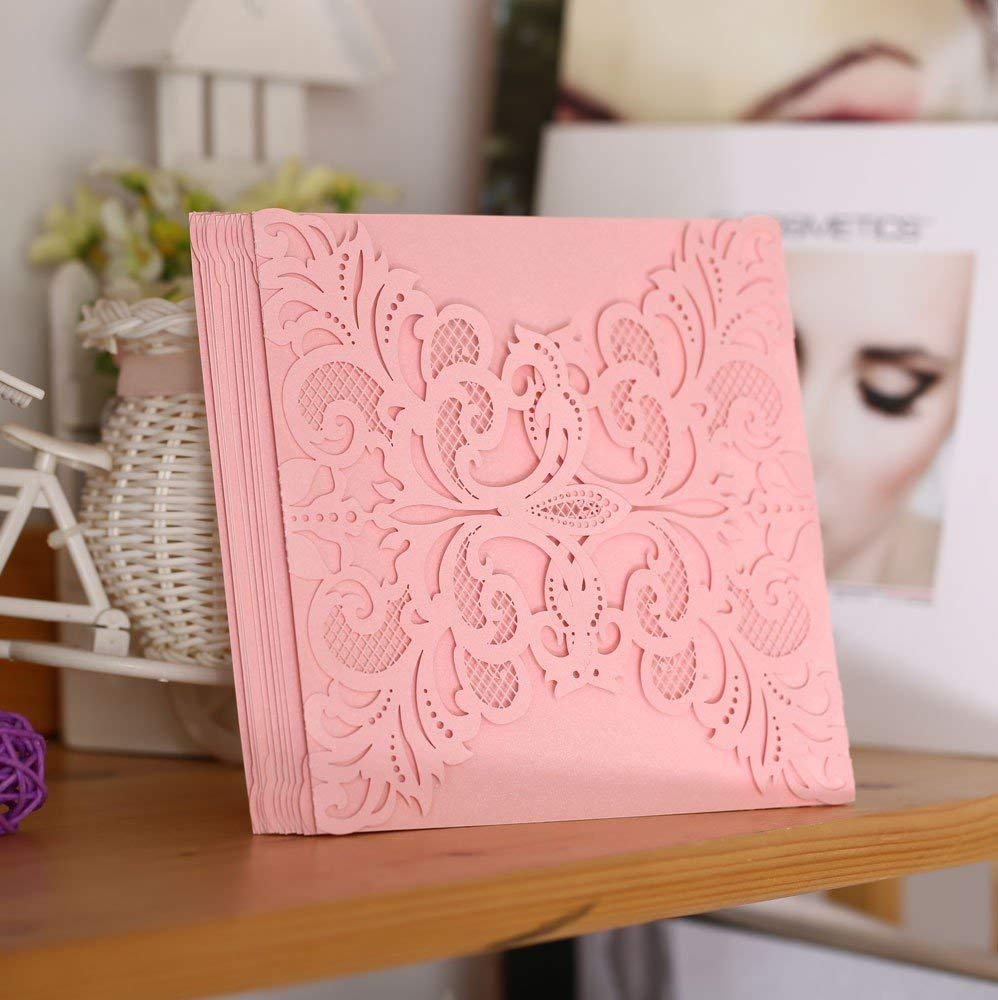 Lavenz 40pcs Pearl Paper Wedding Invitation Card Hollow Out Carved Crafts Card for Wedding Favor Party Decoration