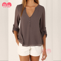 2017 Womens Clothing V Neck Casual Indian Blouse Designs