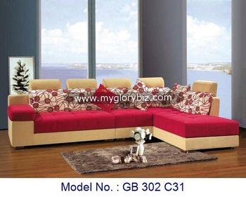 Double Color L Shape Corner Sofas Set Furniture Modern Design Fabric Sofa