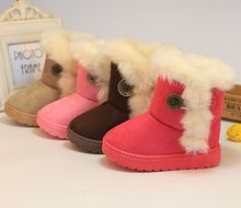 2016 Winter Children Boots Thick Warm Shoes Cotton-Padded Suede Boots for Girls Snow Boots Kids Shoes EU 23-29