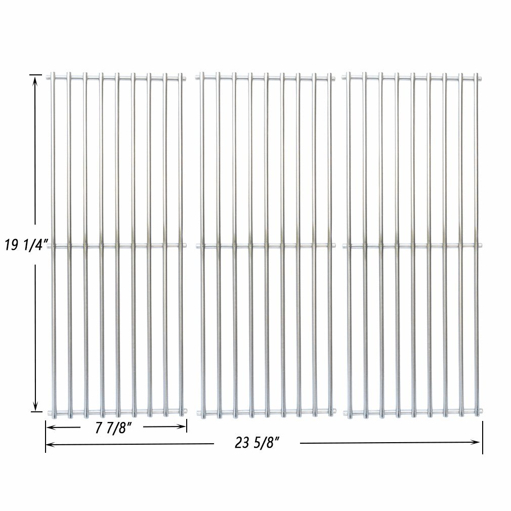 onlyfire BBQ Stainless Steel Cladding Rod Cooking Grates/Cooking Grid Replacement Fit for Select Gas Grill Models by Nexgrill, Perfect Flame and Others, Set of 3