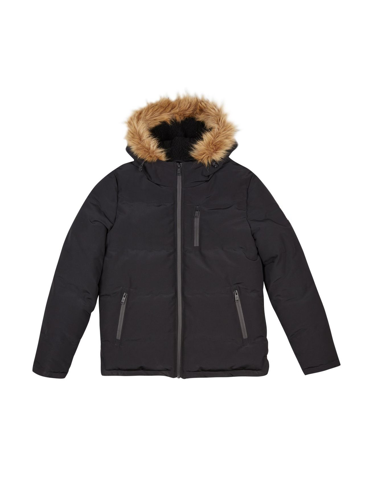 Factory custom puffer style faux fur trimmed hood elasticated cuffs outdoor Jacket for men