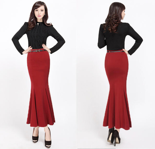 2015 New Run way Fish Tail Trumpet Long Maxi Skirts For Women Black High Waist Mermaid Autumn Spring Office Wear Women Skirt