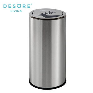 30L Flip top stainless steel hotel trash can/kitchens trash can