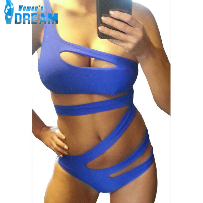9a1cc68ddec45 Buy Blue Bandage one piece swimsuit monokini retro one shoulder swimsuit  cut out swimwear black Plus Size Bathing suit Topless in Cheap Price on  m.alibaba. ...