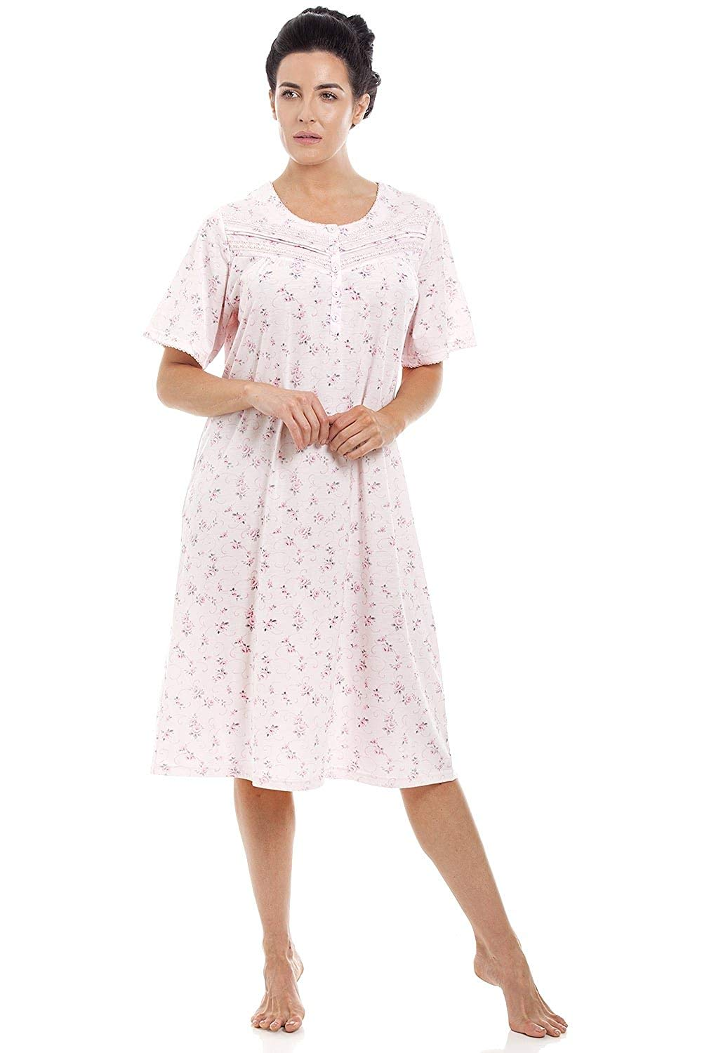 23e15f6b92 Get Quotations · Camille Womens Pink Short Sleeved Floral Nightdress