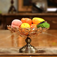 wholesale crystal table fruit bowl with antique metal base for wedding party decoration