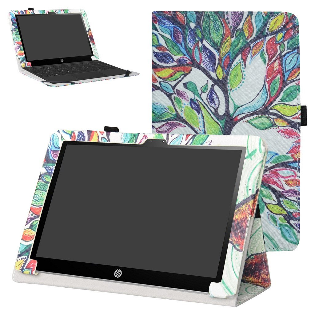 """Mama Mouth PU Leather Folio 2-folding Stand Case Cover for 10.1"""" HP X2 10 10-p010nr 10-p020nr 10-p092ms Tablet(Only fit HP X2 10-p000nr series,not fit HP Pavilion x2 10 10-n000nr series),Love Tree"""