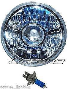 "OCTANE LIGHTING 7"" Halogen Projector H4 Headlight Headlamp Motorcycle Housing Light Bulb New"